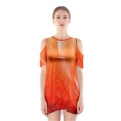 Floating Orange Cutout Shoulder Dress