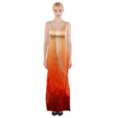 Floating Orange Maxi Thigh Split Dress