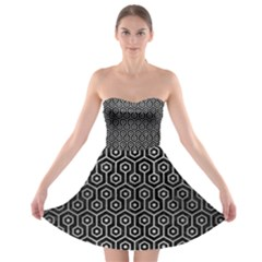 Hexagon1 Black Marble & Silver Brushed Metal Strapless Bra Top Dress