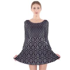 HXG1 BK MARBLE SILVER Long Sleeve Velvet Skater Dress