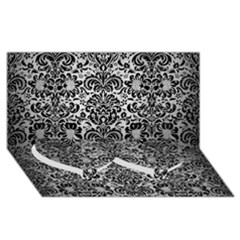 Damask2 Black Marble & Silver Brushed Metal (r) Twin Heart Bottom 3d Greeting Card (8x4)