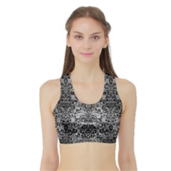 Damask2 Black Marble & Silver Brushed Metal (r) Sports Bra With Border