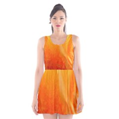 Floating Orange and Yellow Scoop Neck Skater Dress