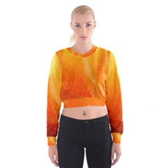 Floating Orange and Yellow Women s Cropped Sweatshirt