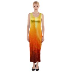 Floating Orange And Yellow Fitted Maxi Dress