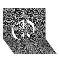 Damask2 Black Marble & Silver Brushed Metal Peace Sign 3d Greeting Card (7x5)