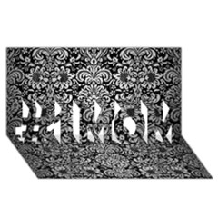 Damask2 Black Marble & Silver Brushed Metal #1 Mom 3d Greeting Cards (8x4)
