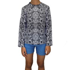 Damask2 Black Marble & Silver Brushed Metal Kids  Long Sleeve Swimwear