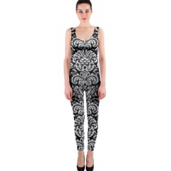 Damask2 Black Marble & Silver Brushed Metal Onepiece Catsuit