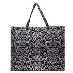 Damask2 Black Marble & Silver Brushed Metal Zipper Large Tote Bag