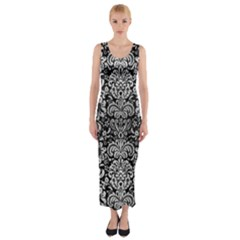 DMS2 BK MARBLE SILVER Fitted Maxi Dress