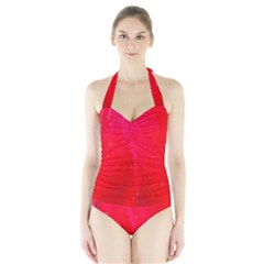 Red And Beautiful Women s Halter One Piece Swimsuit