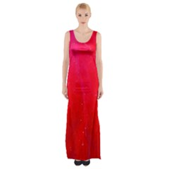 Red and Beautiful Maxi Thigh Split Dress