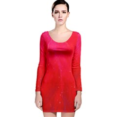 Red And Beautiful Long Sleeve Velvet Bodycon Dress