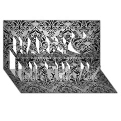 Damask1 Black Marble & Silver Brushed Metal (r) Happy Birthday 3d Greeting Card (8x4)