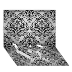 Damask1 Black Marble & Silver Brushed Metal (r) Love Bottom 3d Greeting Card (7x5)