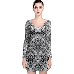 Damask1 Black Marble & Silver Brushed Metal (r) Long Sleeve Bodycon Dress