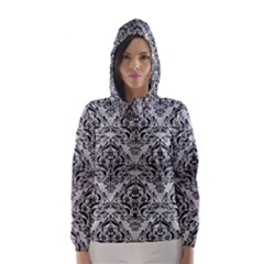 Damask1 Black Marble & Silver Brushed Metal (r) Hooded Wind Breaker (women)