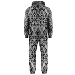 Damask1 Black Marble & Silver Brushed Metal (r) Hooded Jumpsuit (men)