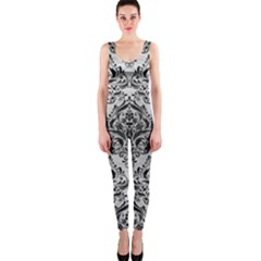 Damask1 Black Marble & Silver Brushed Metal (r) Onepiece Catsuit