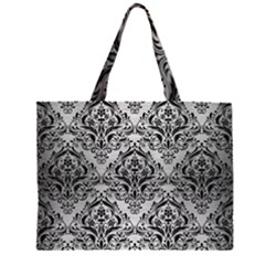 DMS1 BK MARBLE SILVER (R) Large Tote Bag