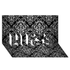 Damask1 Black Marble & Silver Brushed Metal Hugs 3d Greeting Card (8x4)