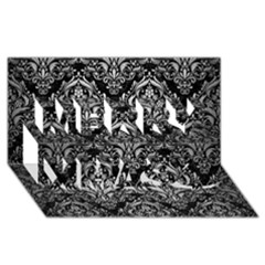 Damask1 Black Marble & Silver Brushed Metal Merry Xmas 3d Greeting Card (8x4)
