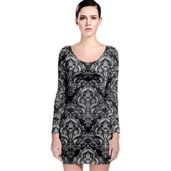Damask1 Black Marble & Silver Brushed Metal Long Sleeve Bodycon Dress