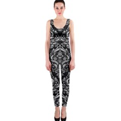 Damask1 Black Marble & Silver Brushed Metal Onepiece Catsuit