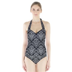 DMS1 BK MARBLE SILVER Women s Halter One Piece Swimsuit