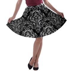 DMS1 BK MARBLE SILVER A-line Skater Skirt