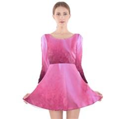 Floating Pink Long Sleeve Velvet Skater Dress