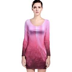 Floating Pink Long Sleeve Velvet Bodycon Dress