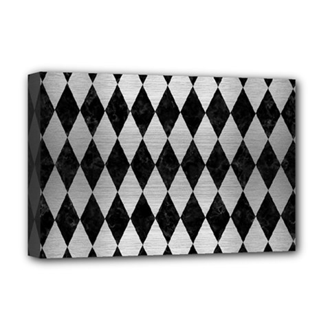 Diamond1 Black Marble & Silver Brushed Metal Deluxe Canvas 18  X 12  (stretched)