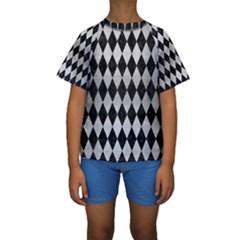 Diamond1 Black Marble & Silver Brushed Metal Kids  Short Sleeve Swimwear