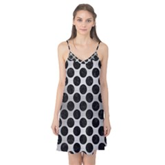 Circles2 Black Marble & Silver Brushed Metal (r) Camis Nightgown