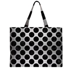 CIR2 BK MARBLE SILVER (R) Large Tote Bag