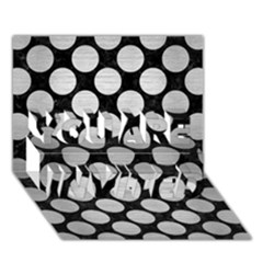 Circles2 Black Marble & Silver Brushed Metal You Are Invited 3d Greeting Card (7x5)