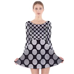 Circles2 Black Marble & Silver Brushed Metal Long Sleeve Velvet Skater Dress