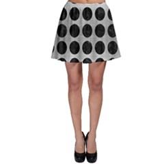Circles1 Black Marble & Silver Brushed Metal (r) Skater Skirt