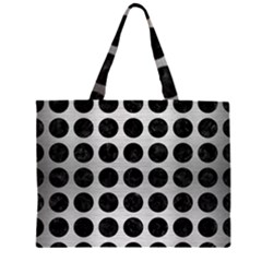 CIR1 BK MARBLE SILVER (R) Large Tote Bag