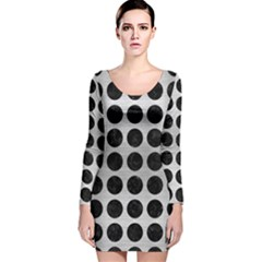 Circles1 Black Marble & Silver Brushed Metal (r) Long Sleeve Velvet Bodycon Dress