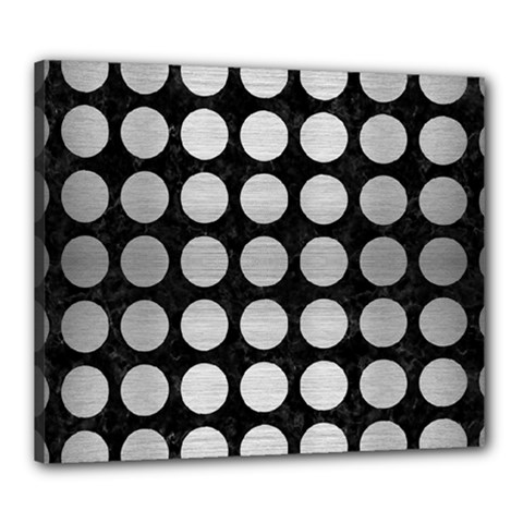 Circles1 Black Marble & Silver Brushed Metal Canvas 24  X 20  (stretched)
