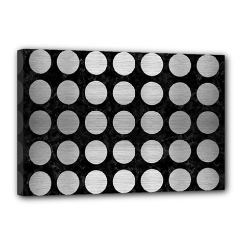 Circles1 Black Marble & Silver Brushed Metal Canvas 18  X 12  (stretched)