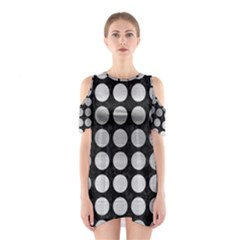 Circles1 Black Marble & Silver Brushed Metal Shoulder Cutout One Piece