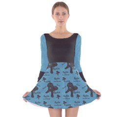 I Love Chocolate Lab Long Sleeve Velvet Skater Dress