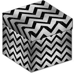 Chevron9 Black Marble & Silver Brushed Metal (r) Storage Stool 12