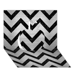 Chevron9 Black Marble & Silver Brushed Metal (r) Apple 3d Greeting Card (7x5)
