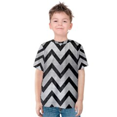 Chevron9 Black Marble & Silver Brushed Metal (r) Kids  Cotton Tee