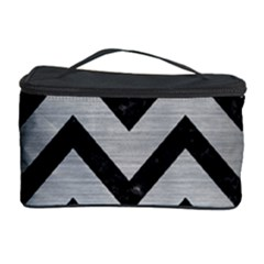 Chevron9 Black Marble & Silver Brushed Metal (r) Cosmetic Storage Case